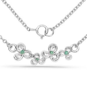 LoveHuang 0.05 Carats Genuine Emerald Blossom Necklace Solid .925 Sterling Silver With Rhodium Plating, 18Inch Chain