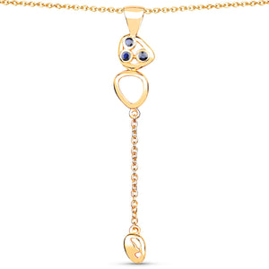 LoveHuang 0.11 Carats Genuine Blue Sapphire Golden Egg Pendant Solid .925 Sterling Silver With 18KT Yellow Gold Plating, 18Inch Chain