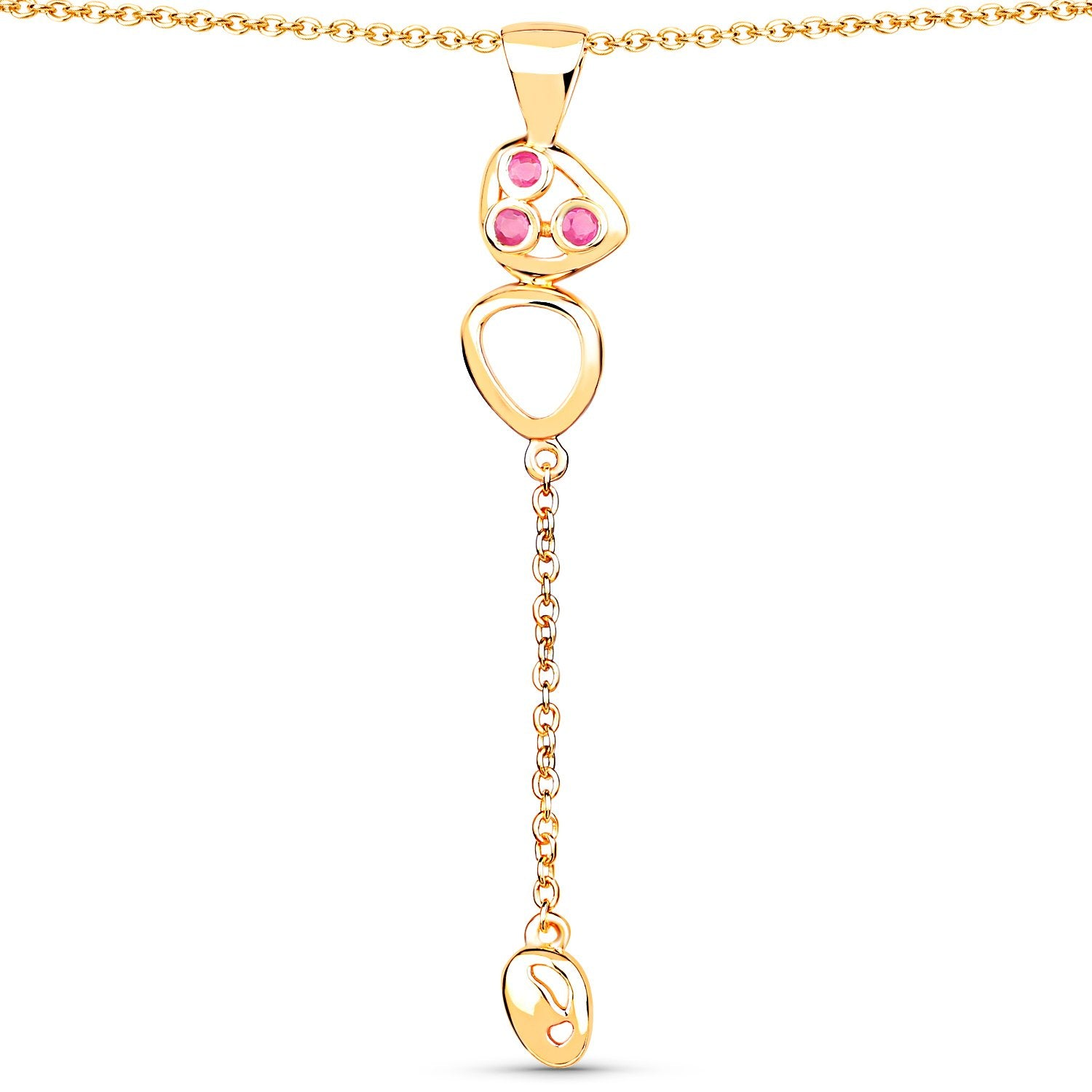 LoveHuang 0.14 Carats Genuine Ruby Golden Egg Pendant Solid .925 Sterling Silver With 18KT Yellow Gold Plating, 18Inch Chain