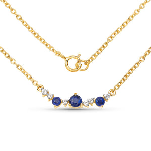 LoveHuang 0.44 Carats Genuine Kyanite and White Topaz Necklace Solid .925 Sterling Silver With 18KT Yellow Gold Plating, 18Inch Chain