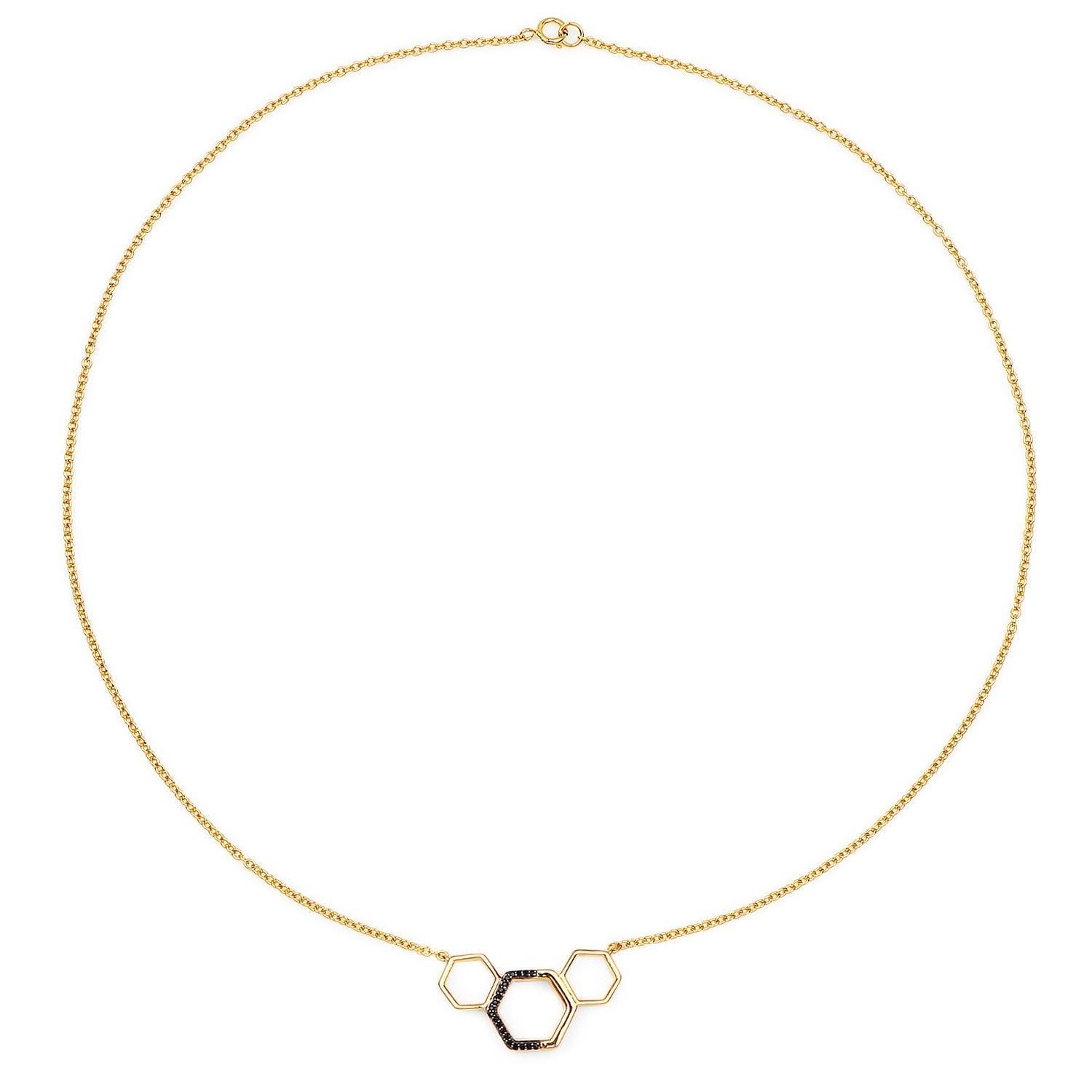 LoveHuang 0.11 Carats Genuine Black Spinel Minimalist Hexagon Necklace Solid .925 Sterling Silver With 18KT Yellow Gold Plating, 18Inch Chain