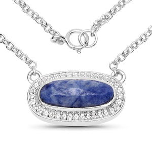 LoveHuang 2.17 Carats Genuine Blue Aventurine and White Topaz Necklace Solid .925 Sterling Silver With Rhodium Plating, 18 Inch Chain