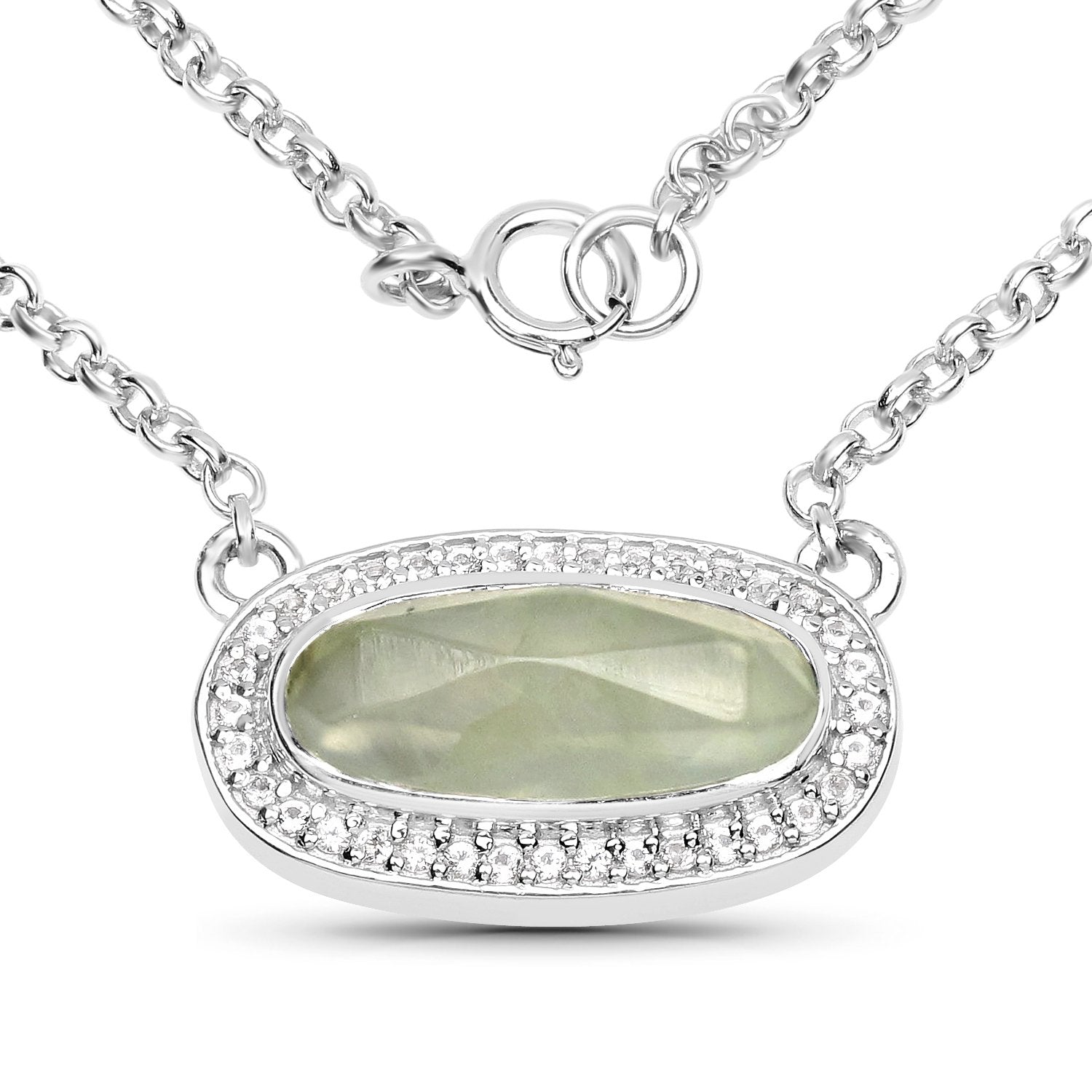 LoveHuang 2.41 Carats Genuine Prehnite and White Topaz Necklace Solid .925 Sterling Silver With Rhodium Plating, 18 Inch Chain