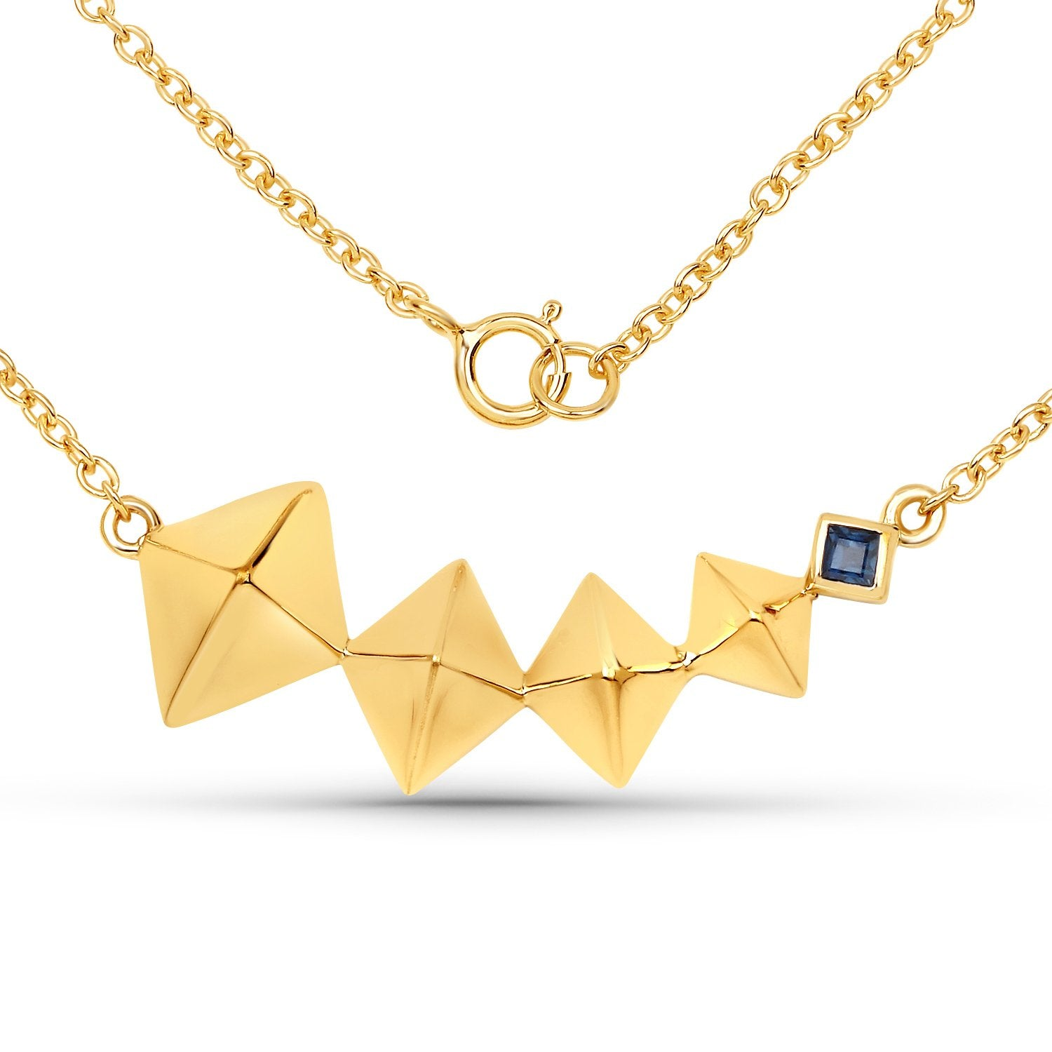 LoveHuang 0.06 Carats Genuine Blue Sapphire Necklace Solid .925 Sterling Silver With 18KT Yellow Gold Plating, 18Inch Chain
