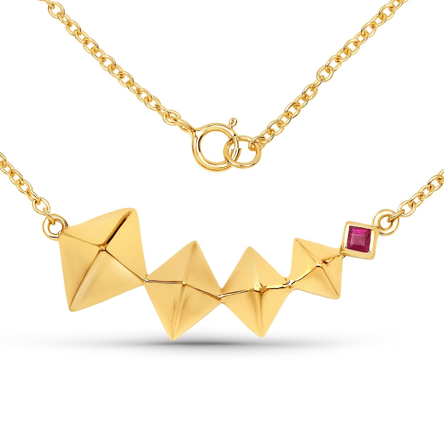 LoveHuang 0.11 Carats Genuine Ruby Necklace Solid .925 Sterling Silver With 18KT Yellow Gold Plating, 18Inch Chain