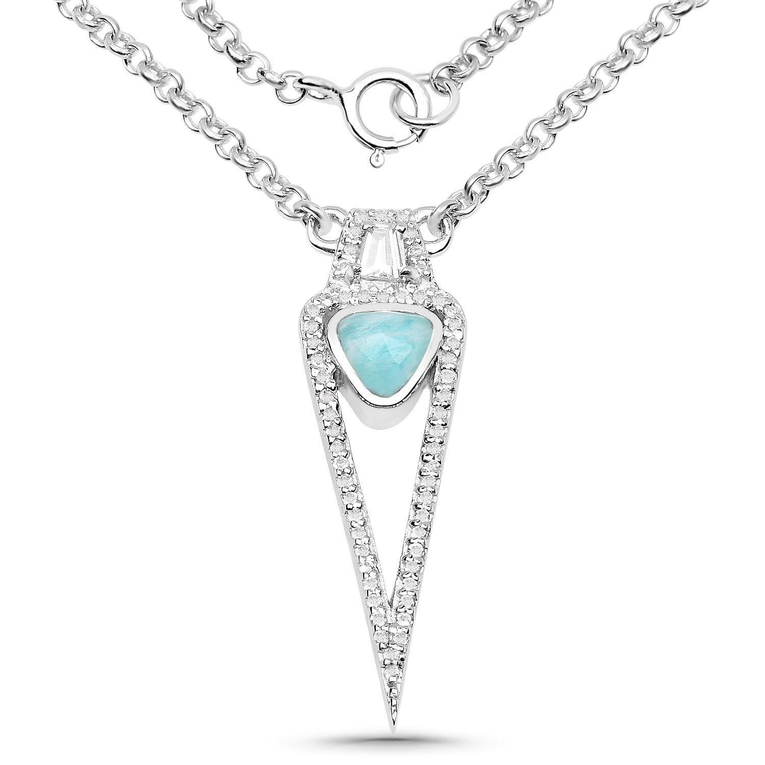 LoveHuang 0.79 Carats Genuine Amazonite and White Topaz Necklace Solid .925 Sterling Silver With Rhodium Plating, 18Inch Chain