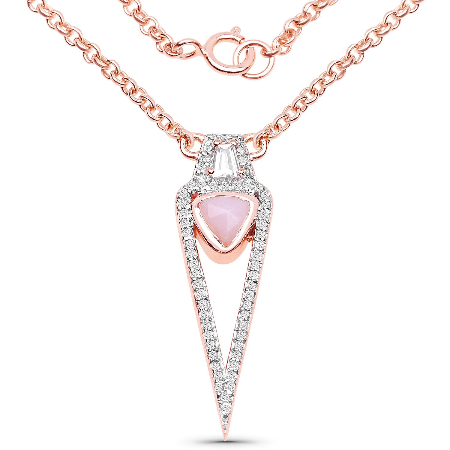 LoveHuang 0.69 Carats Genuine Pink Opal and White Topaz Necklace Solid .925 Sterling Silver With 18KT Rose Gold Plating, 18Inch Chain