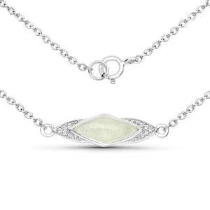LoveHuang 1.23 Carats Genuine Prehnite and White Topaz Necklace Solid .925 Sterling Silver With Rhodium Plating, 18Inch Chain