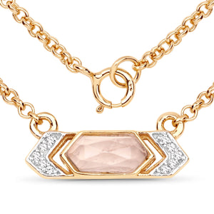 LoveHuang 0.77 Carats Genuine Rose Quartz and White Topaz Necklace Solid .925 Sterling Silver With 18KT Yellow Gold Plating, 18Inch Chain