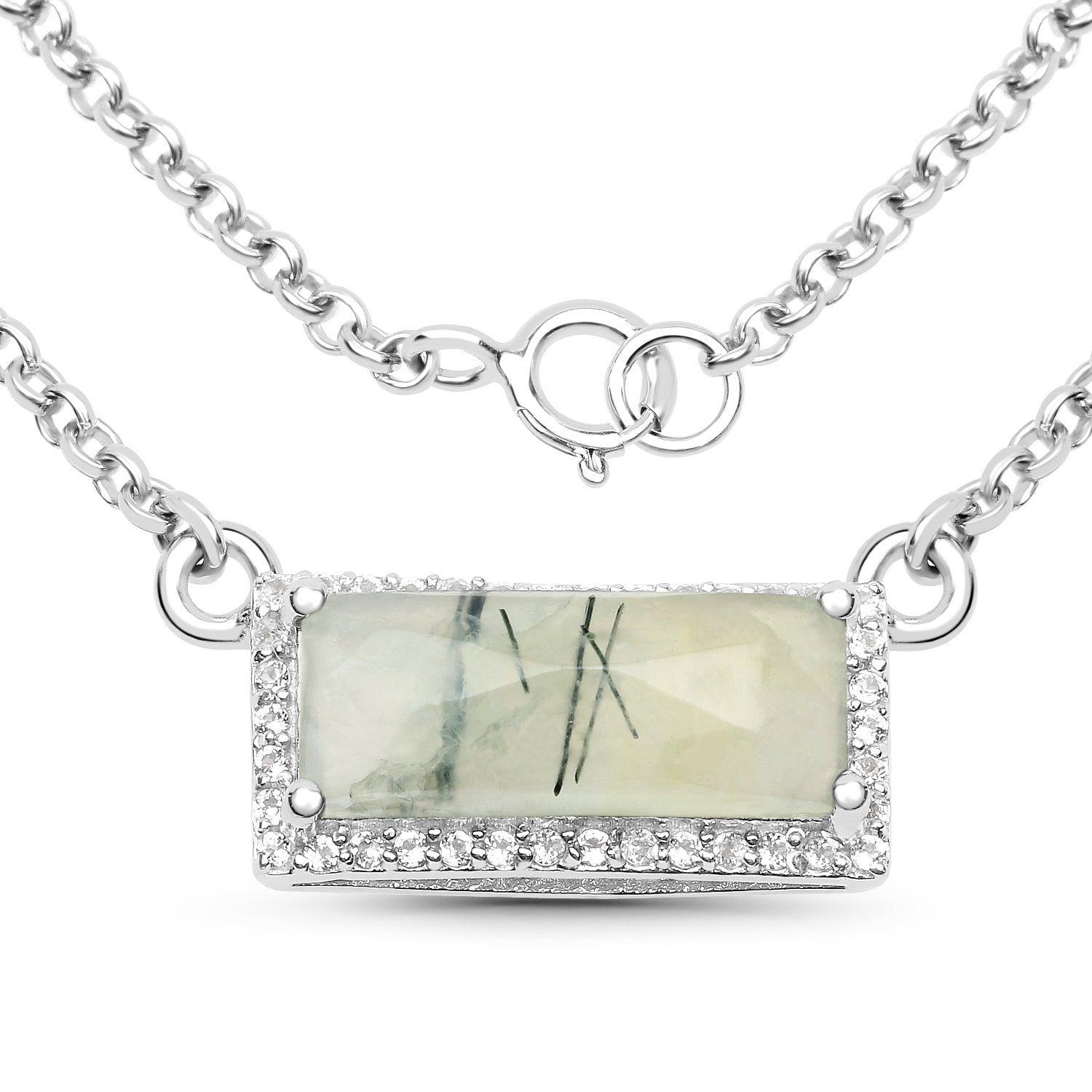 LoveHuang 3.22 Carats Genuine Prehnite and White Topaz Rectangle Bar Necklace Solid .925 Sterling Silver With Rhodium Plating, 18Inch Chain