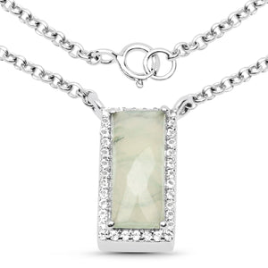 LoveHuang 1.96 Carats Genuine Prehnite and White Topaz Baguette Pendant Solid .925 Sterling Silver With Rhodium Plating, 18 Inch Chain