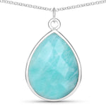 LoveHuang 10.08 Carats Genuine Amazonite Necklace Solid .925 Sterling Silver With Rhodium Plating, 18Inch Chain