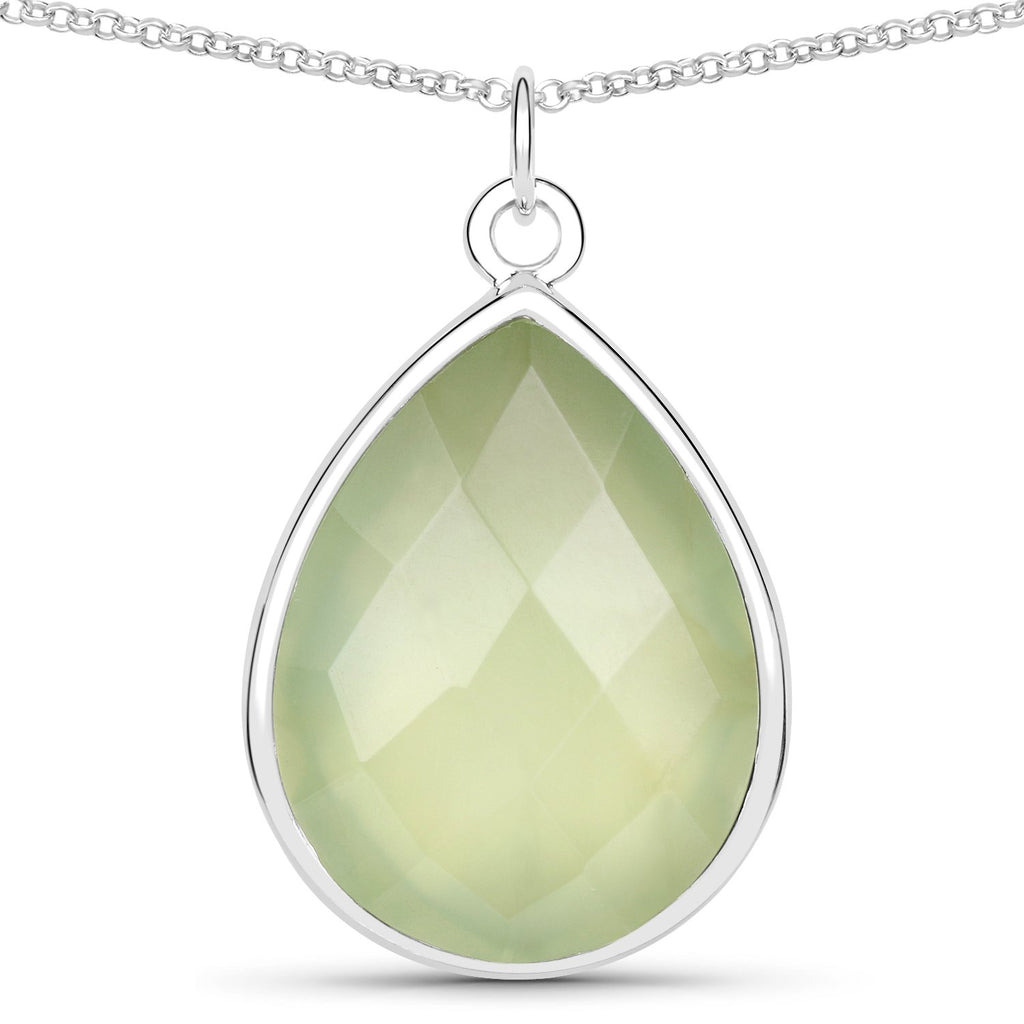 LoveHuang 14.00 Carats Genuine Prehnite Necklace Solid .925 Sterling Silver With Rhodium Plating, 18Inch Chain