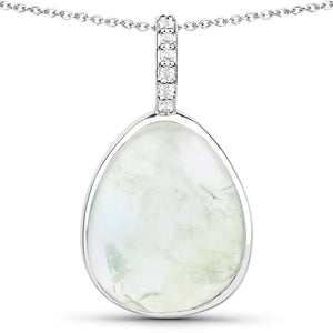 LoveHuang 5.90 Carats Genuine Prehnite and White Topaz Drop Pendant Solid .925 Sterling Silver With Rhodium Plating, 18 Inch Chain