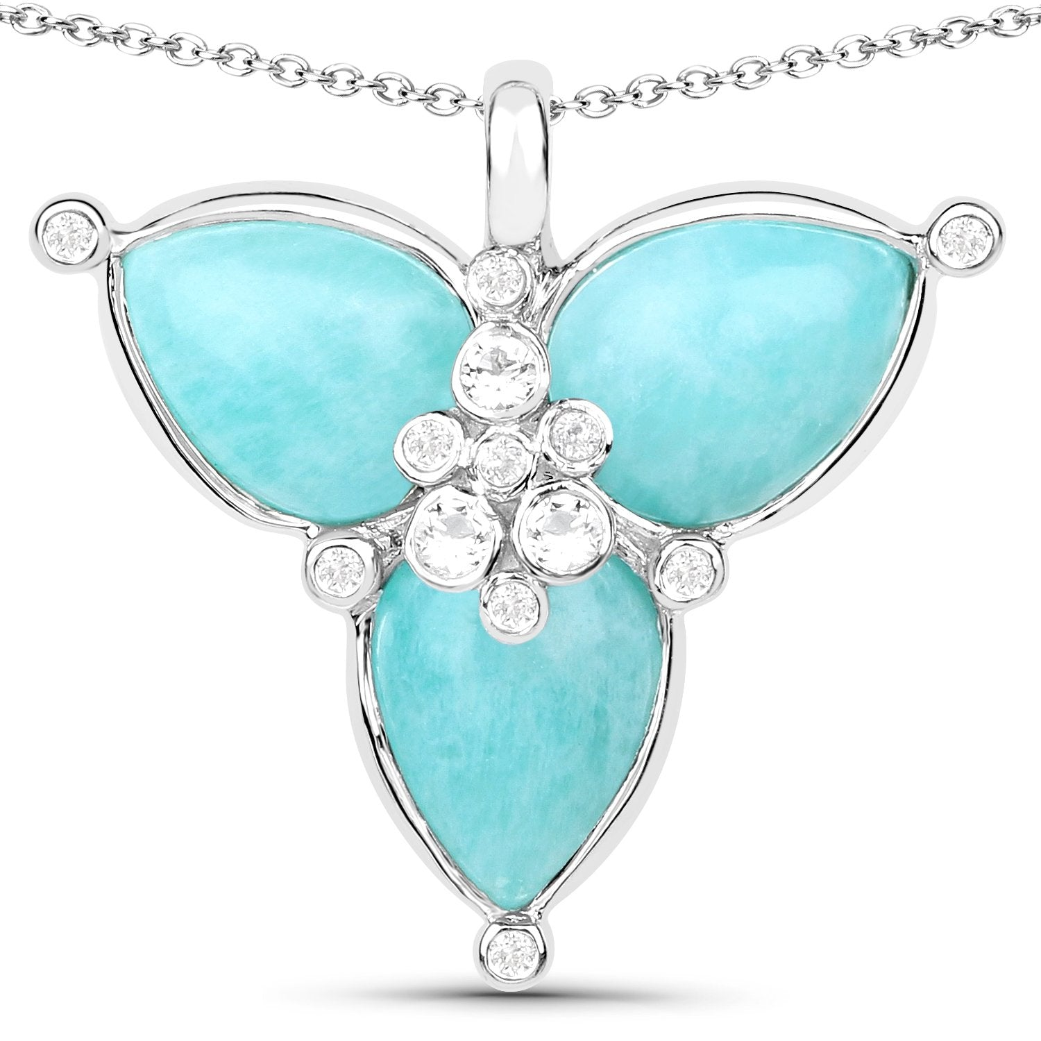 LoveHuang 4.51 Carats Genuine Amazonite and White Topaz Petal Pendant Solid .925 Sterling Silver With Rhodium Plating, 18Inch Chain