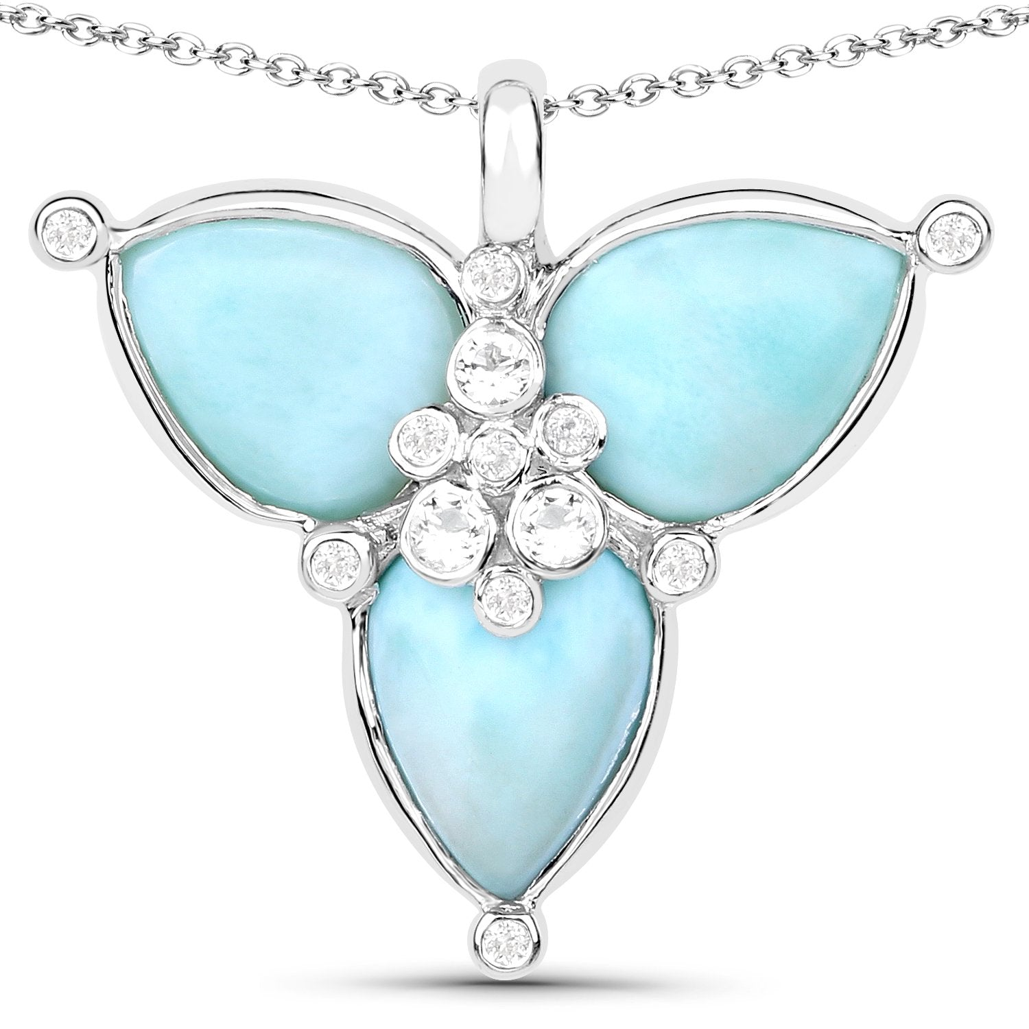 LoveHuang 3.48 Carats Genuine Larimar and White Topaz Petal Pendant Solid .925 Sterling Silver With Rhodium Plating, 18Inch Chain