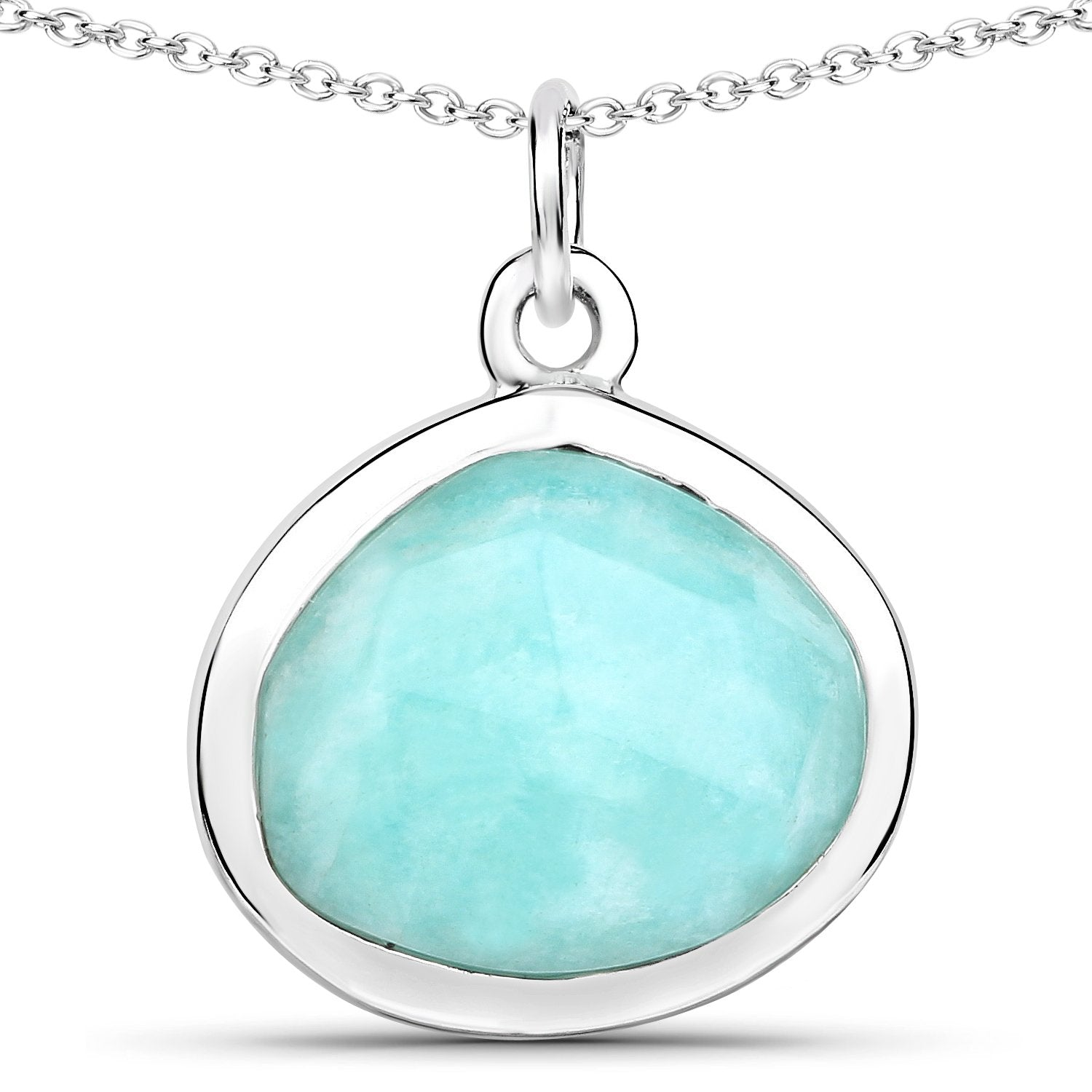 LoveHuang 3.70 Carats Genuine Amazonite Rose Cut Pendant Solid .925 Sterling Silver With Rhodium Plating, 18Inch Chain