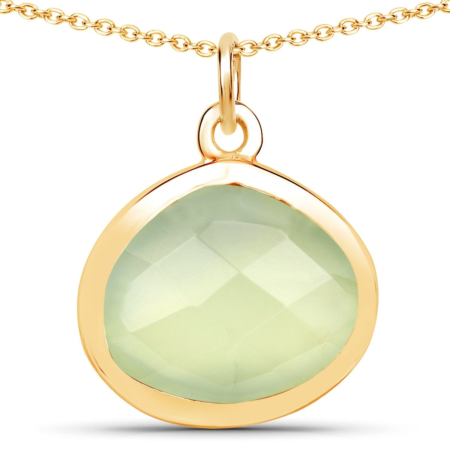 LoveHuang 4.23 Carats Genuine Prehnite Rose Cut Drop Pendant Solid .925 Sterling Silver With 18KT Yellow Gold Plating, 18 Inch Chain