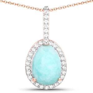 LoveHuang 2.26 Carats Genuine Amazonite and White Topaz Halo Pendant Solid .925 Sterling Silver With 18KT Rose Gold Plating, 18Inch Chain