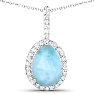 LoveHuang 1.98 Carats Genuine Larimar and White Topaz Pendant Solid .925 Sterling Silver With Rhodium Plating, 18Inch Chain