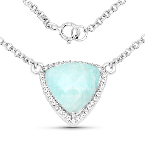 LoveHuang 5.17 Carats Genuine Amazonite and White Topaz Trillion Necklace Solid .925 Sterling Silver With Rhodium Plating, 18Inch Chain