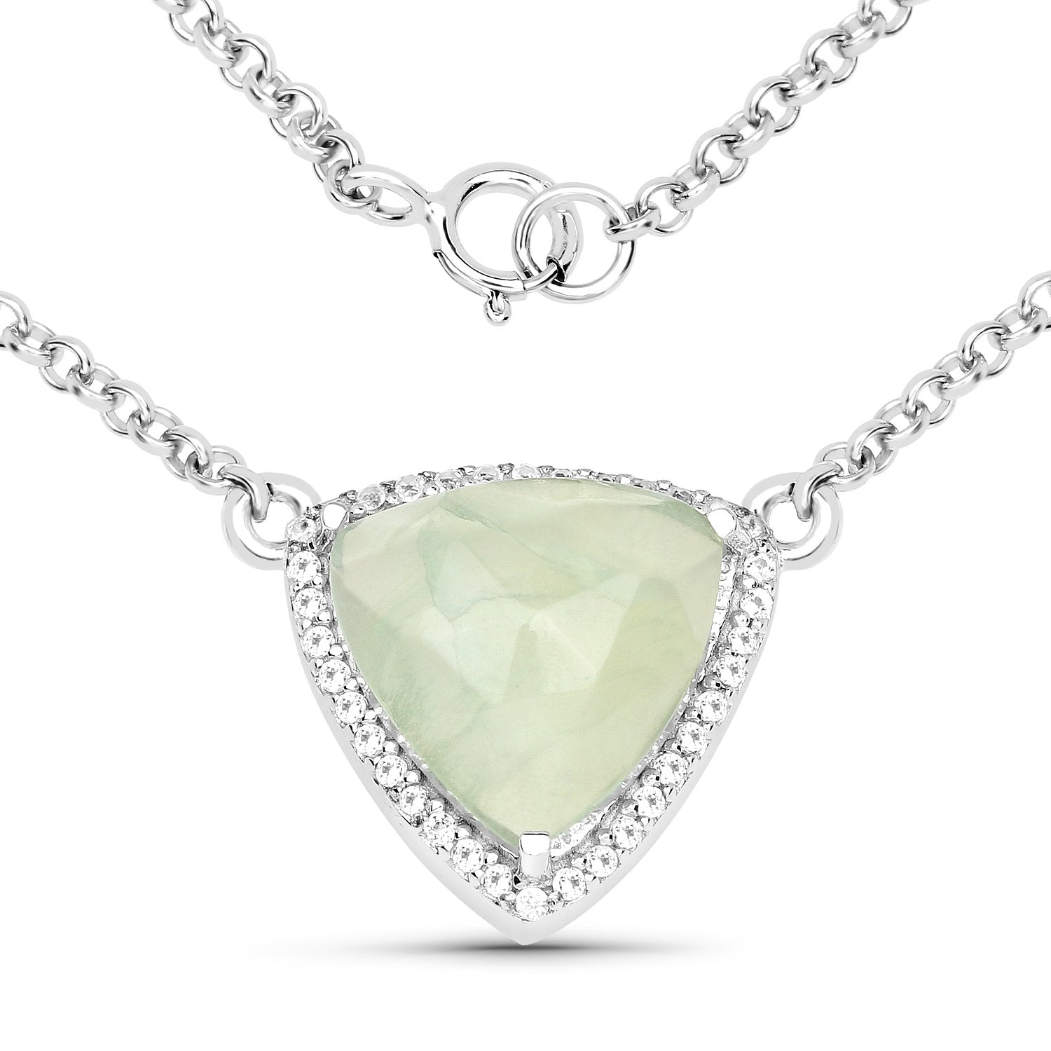 LoveHuang 4.37 Carats Genuine Prehnite and White Topaz Pendant Solid .925 Sterling Silver With Rhodium Plating, 18 Inch Chain