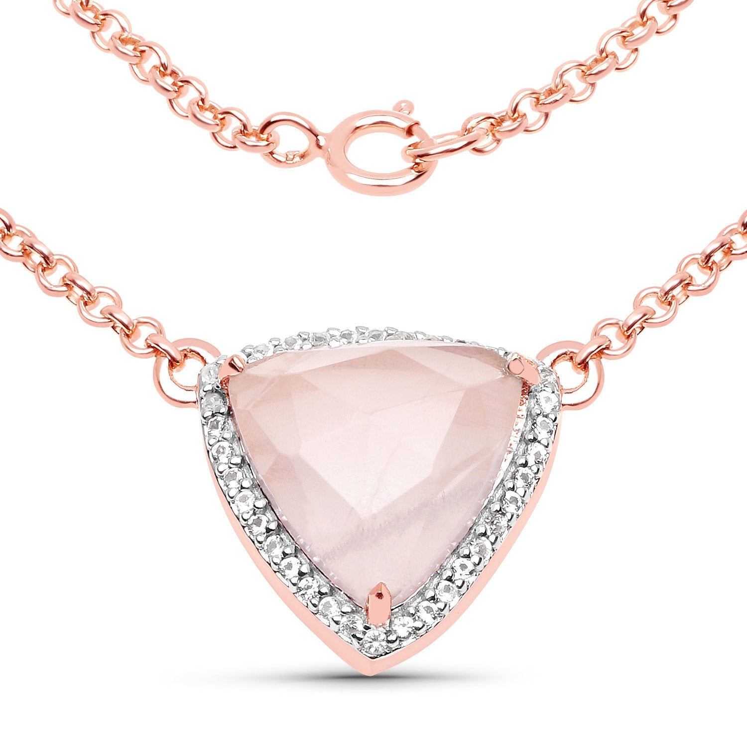 LoveHuang 3.78 Carats Genuine Rose Quartz and White Topaz Trillion Necklace Solid .925 Sterling Silver With 18KT Rose Gold Plating, 18Inch Chain