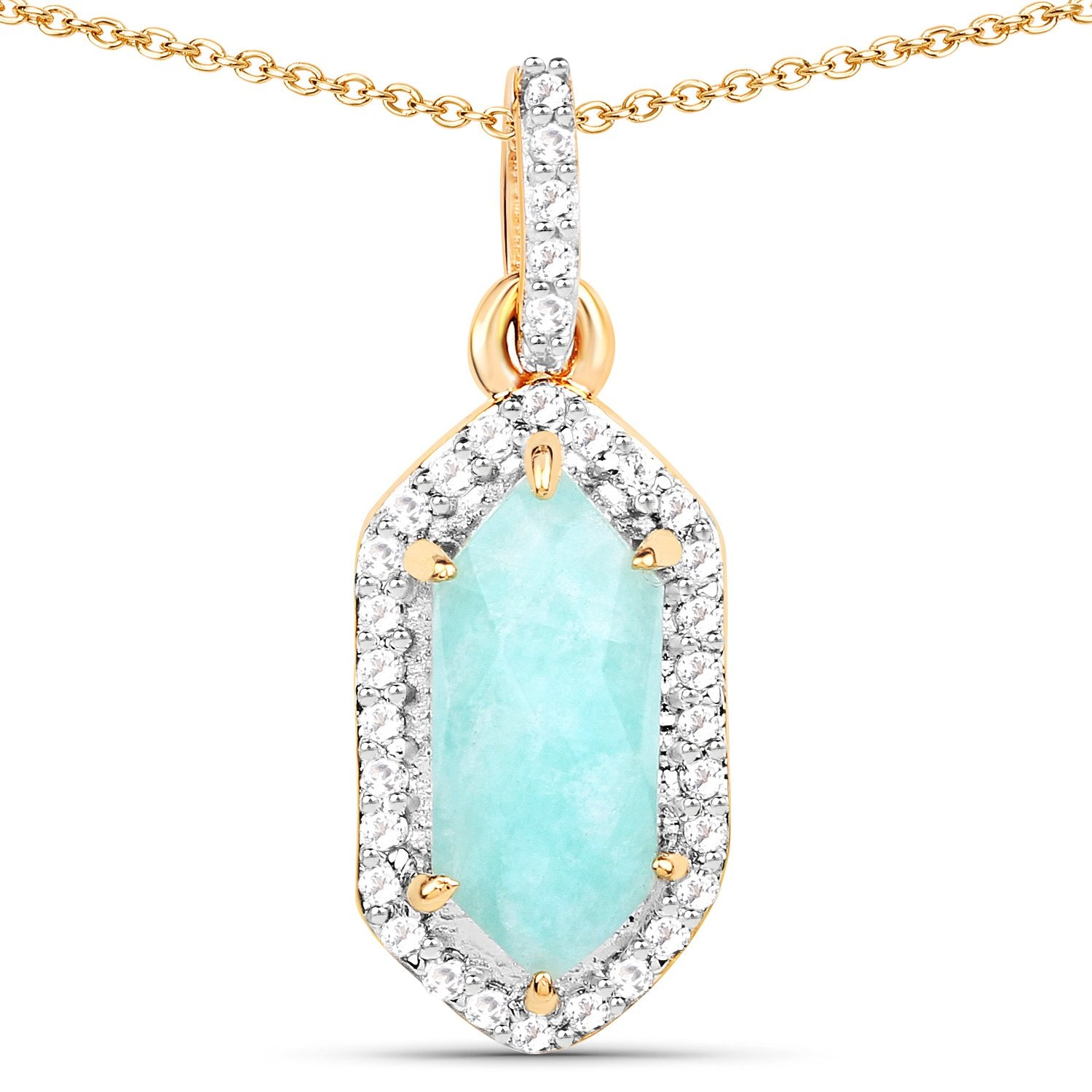 LoveHuang 1.95 Carats Genuine Amazonite and White Topaz Drop Pendant Solid .925 Sterling Silver With 18KT Yellow Gold Plating, 18Inch Chain