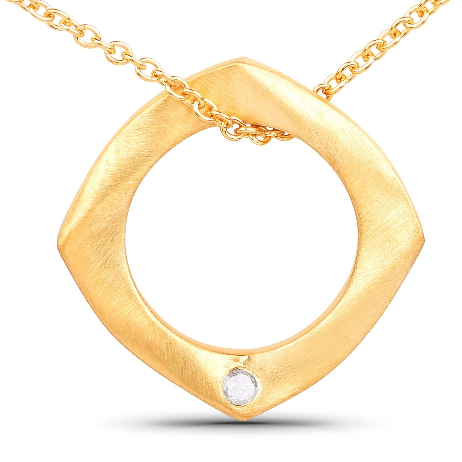 LoveHuang 0.03 Carats Genuine White Diamond (I-J, I2-I3) Circle Of Life Pendant Solid .925 Sterling Silver With 18KT Yellow Gold Plating, 18Inch Chain