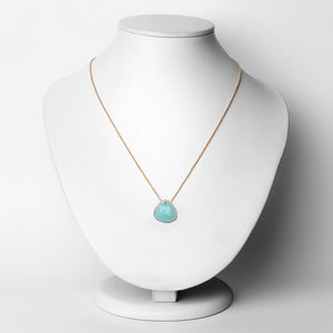 LoveHuang 3.11 Carats Genuine Amazonite and White Topaz Pendant Solid .925 Sterling Silver With 18KT Yellow Gold Plating, 18Inch Chain
