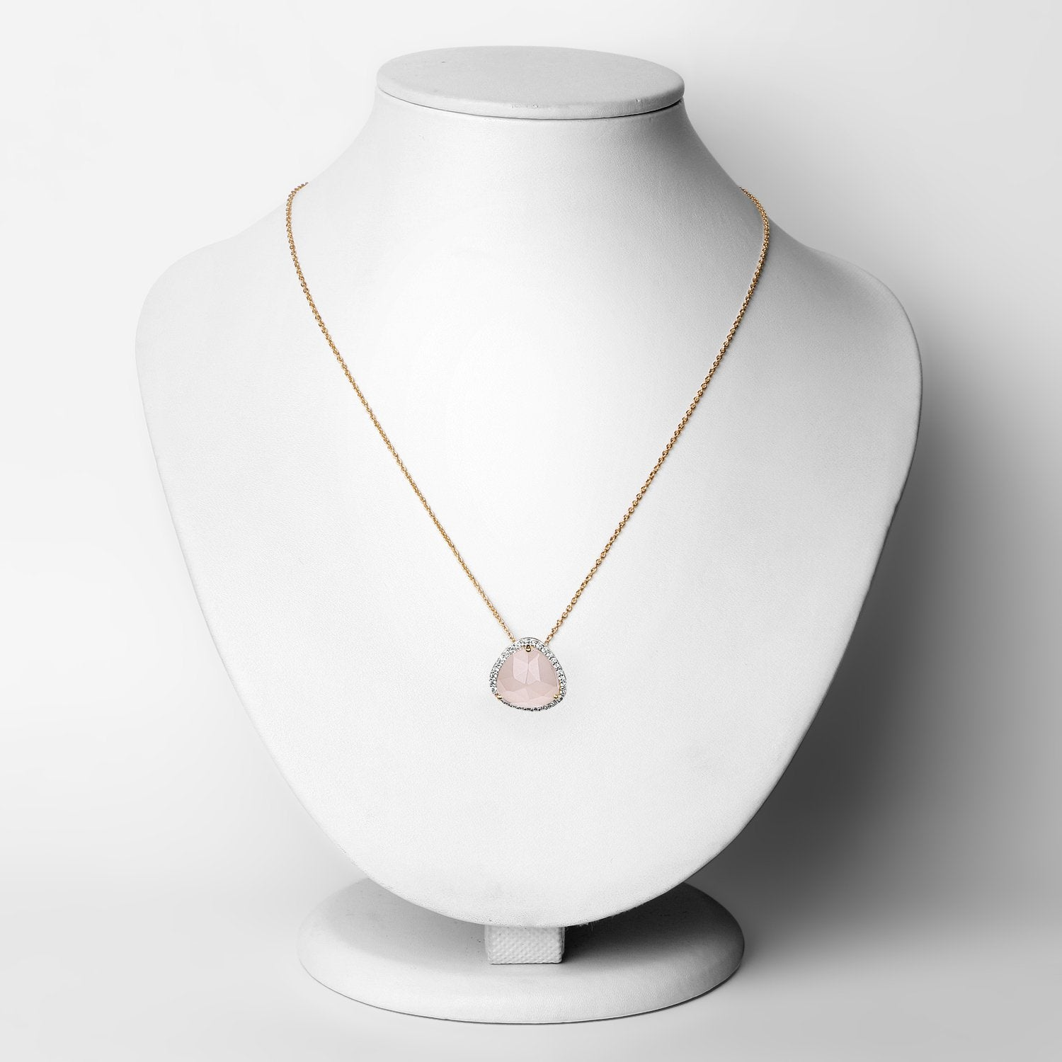 LoveHuang 3.38 Carats Genuine Rose Quartz and White Topaz Pendant Solid .925 Sterling Silver With 18KT Yellow Gold Plating, 18Inch Chain