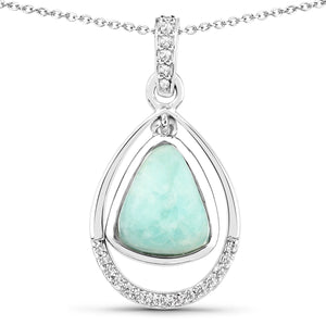 LoveHuang 2.25 Carats Genuine Amazonite and White Topaz Pendant Solid .925 Sterling Silver With Rhodium Plating, 18Inch Chain