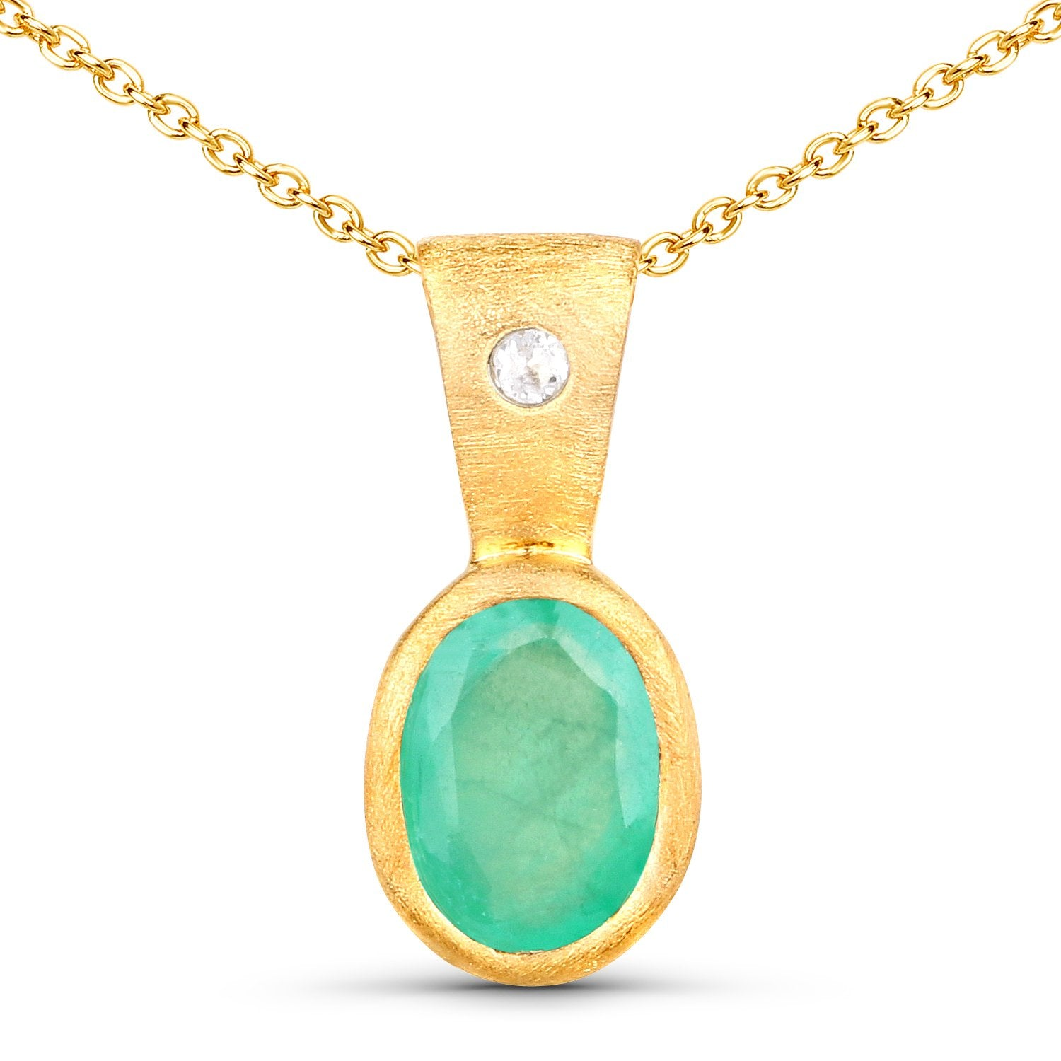 LoveHuang 0.60 Carats Genuine Sakota Emerald and White Topaz Pendant Solid .925 Sterling Silver With 18KT Yellow Gold Plating, Matte Finish, 18Inch Chain
