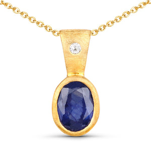 LoveHuang 0.91 Carats Genuine Blue Sapphire and White Topaz Pendant Solid .925 Sterling Silver With 18KT Yellow Gold Plating, Matte Finish, 18Inch Chain