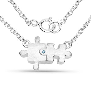 LoveHuang 0.01 Carats Genuine Blue Diamond (I-J, I2-I3) Puzzle Necklace Solid .925 Sterling Silver With Rhodium Plating, 18Inch Chain, Matte Finish