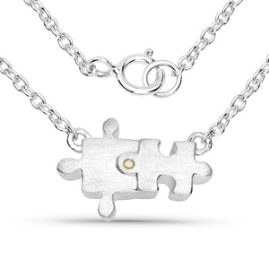 LoveHuang 0.01 Carats Genuine Yellow Diamond (I-J, I2-I3) Puzzle Necklace Solid .925 Sterling Silver With Rhodium Plating, 18Inch Chain, Matte Finish