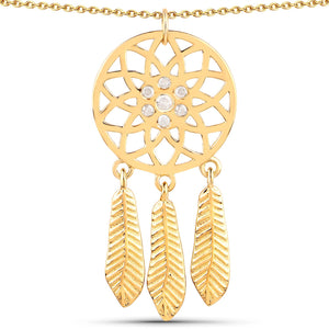 LoveHuang 0.18 Carats Genuine White Diamond (I-J, I2-I3) Dream Catcher Pendant Solid .925 Sterling Silver With 18KT Yellow Gold Plating, 18Inch Chain