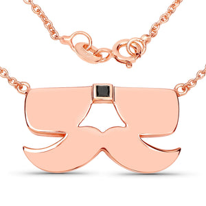 LoveHuang 0.05 Carats Genuine Black Diamond (I-J, I2-I3) Sunglasses and Mustache Pendant Solid .925 Sterling Silver With 18KT Rose Gold Plating, 18Inch Chain, Matte Finish