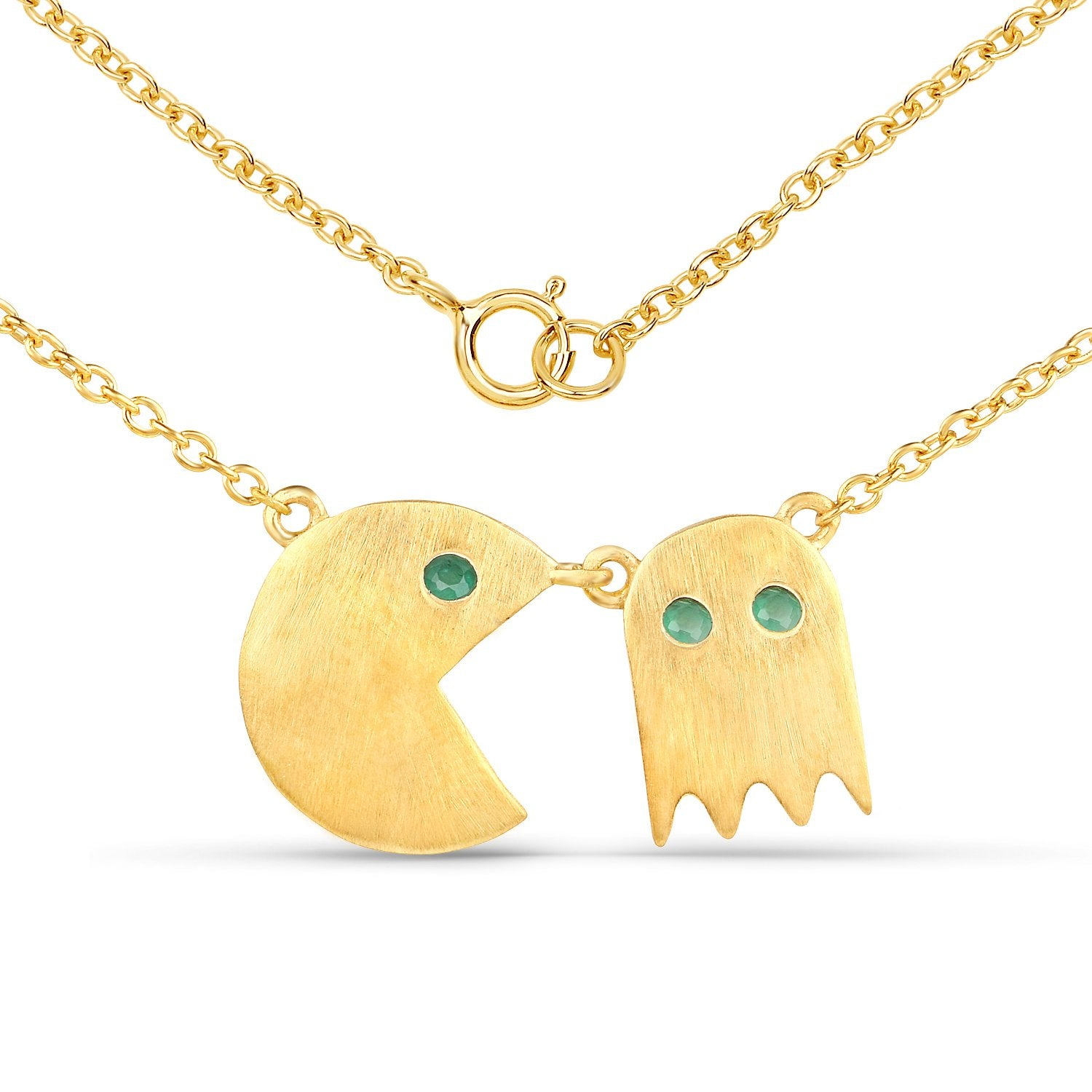 LoveHuang 0.09 Carats Genuine Emerald Pacman Pendant Solid .925 Sterling Silver With 18KT Yellow Gold Plating, 18Inch Chain, Matte Finish