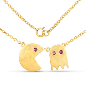 LoveHuang 0.14 Carats Genuine Ruby Pacman Pendant Solid .925 Sterling Silver With 18KT Yellow Gold Plating, 18Inch Chain, Matte Finish