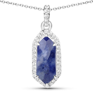 LoveHuang 2.11 Carats Genuine Blue Aventurine and White Topaz Art Deco Pendant Solid .925 Sterling Silver With Rhodium Plating, 18Inch Chain