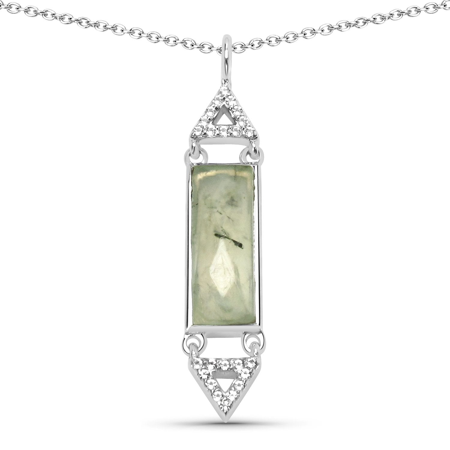 LoveHuang 2.21 Carats Genuine Prehnite and White Topaz Baguette Pendant Solid .925 Sterling Silver With Rhodium Plating, 18 Inch Chain