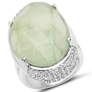 LoveHuang 20.00 Carats Genuine Prehnite and White Topaz Statement Ring Solid .925 Sterling Silver With Rhodium Plating