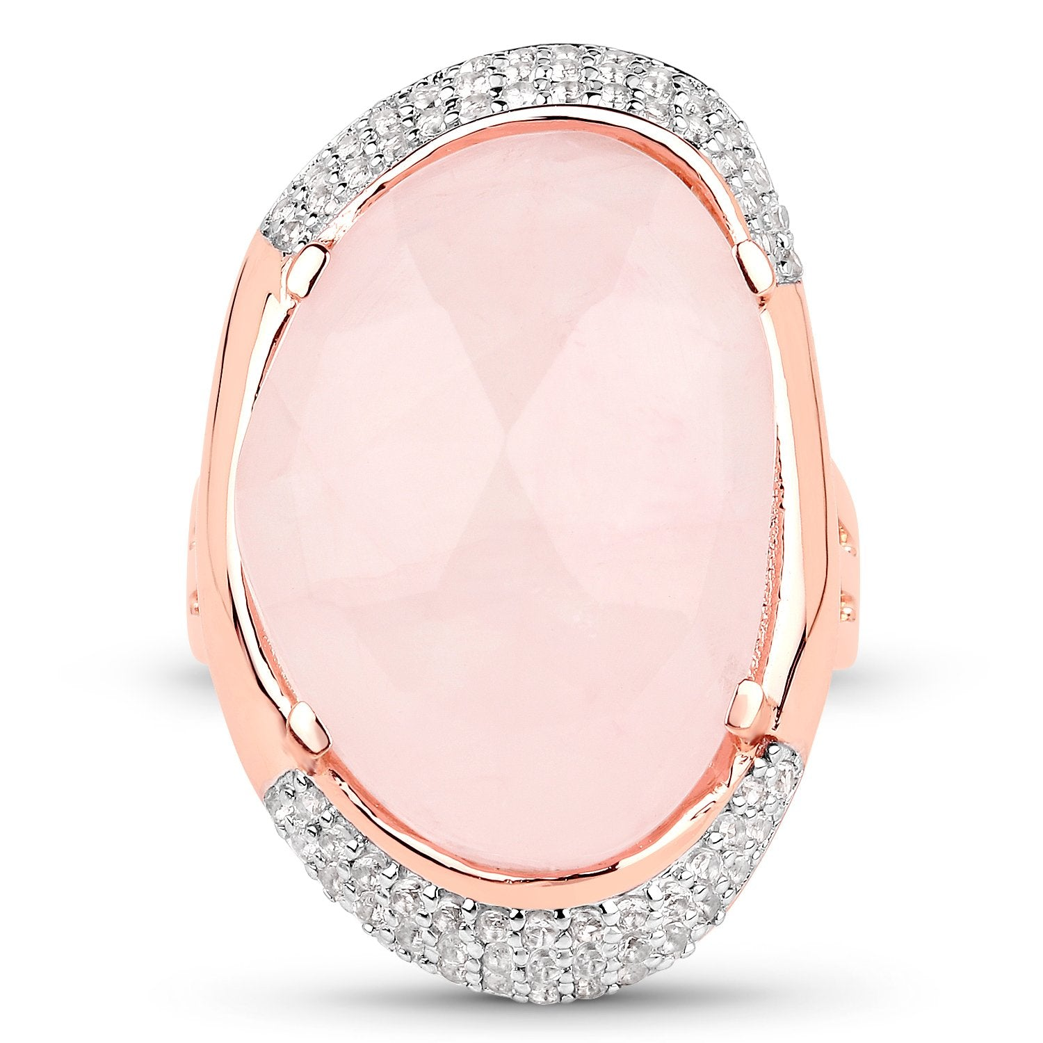 LoveHuang 15.19 Carats Genuine Rose Quartz and White Topaz Statement Ring Solid .925 Sterling Silver With 18KT Rose Gold Plating