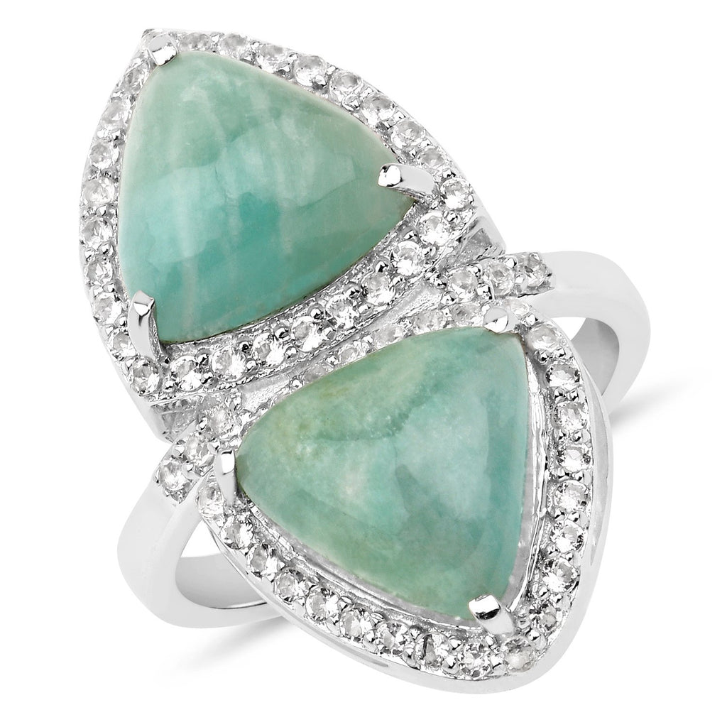 LoveHuang 7.38 Carats Genuine Amazonite and White Topaz Mirror Ring Solid .925 Sterling Silver With Rhodium Plating