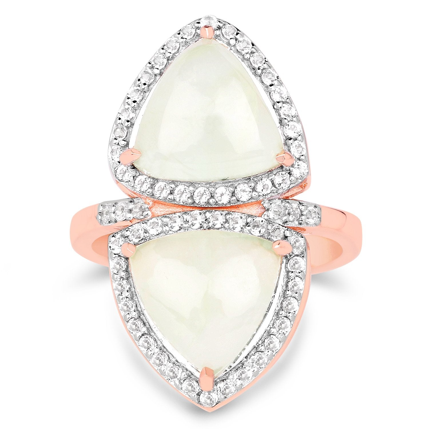 LoveHuang 6.82 Carats Genuine Prehnite and White Topaz Mirror Ring Solid .925 Sterling Silver With 18KT Rose Gold Plating