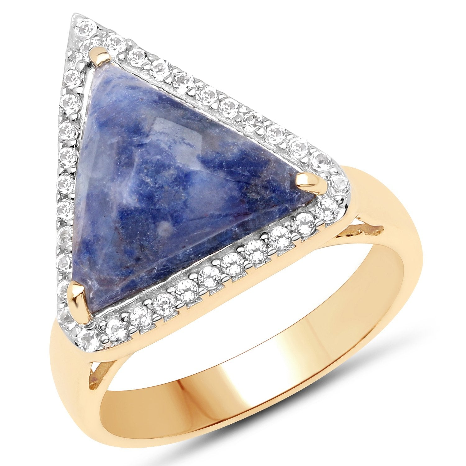 LoveHuang 8.61 Carats Genuine Blue Aventurine and White Topaz Triangle Ring Solid .925 Sterling Silver With 18KT Yellow Gold Plating