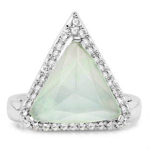 LoveHuang 4.05 Carats Genuine Prehnite and White Topaz Trillion Ring Solid .925 Sterling Silver With Rhodium Plating