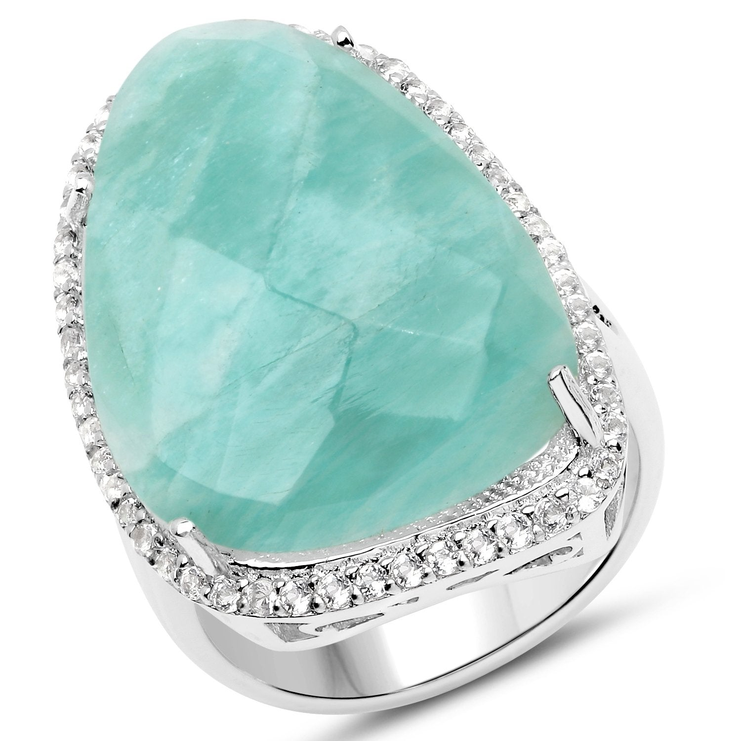 LoveHuang 23.71 Carats Genuine Amazonite and White Topaz Statement Ring Solid .925 Sterling Silver With Rhodium Plating