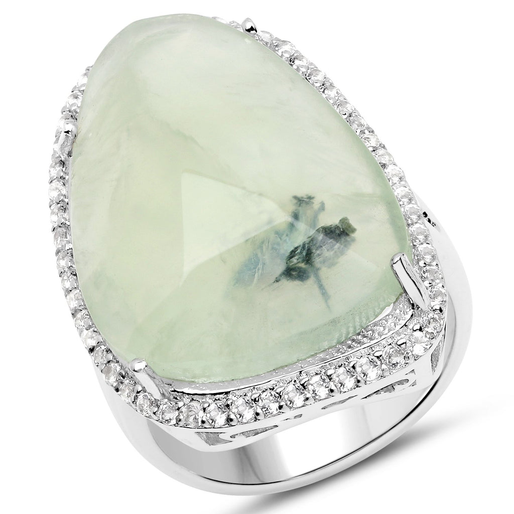 LoveHuang 17.83 Carats Genuine Prehnite and White Topaz Statement Ring Solid .925 Sterling Silver With Rhodium Plating